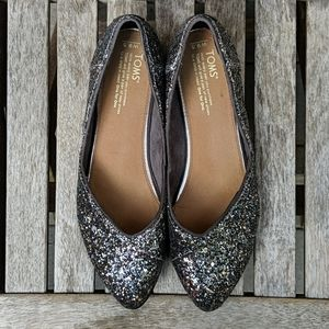 Toms Jutti Flat Silver Sparkly Glitter Party Shoes